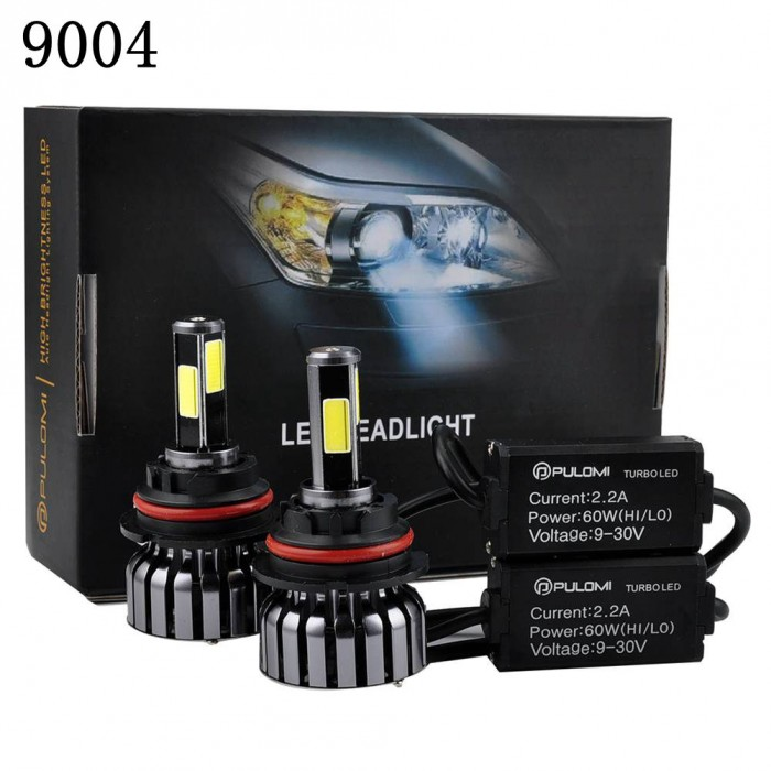 9004 Hi/Low Beam 120W 12800lm 4 Sides CREE LED Headlight Kit HB1 6000K Bulbs 12V