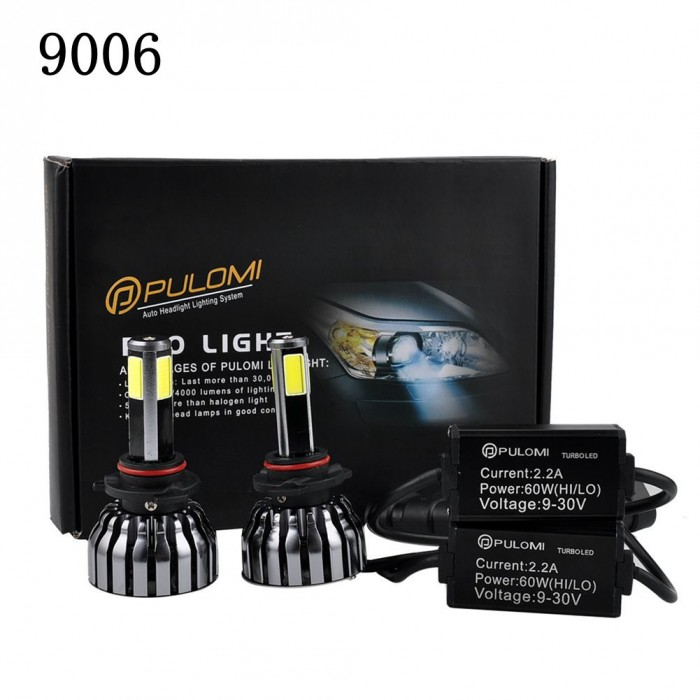 9006 HB4 Low Beam 120W 12800lm 4 Sides CREE LED Headlight Kit 6000K Bulbs White