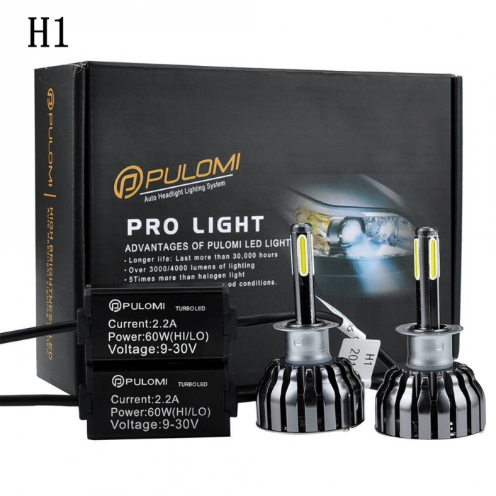 H1 Low Beam 120W 12800lm 4 Sides CREE LED Headlight Kit 6000K Bulbs White Lamps