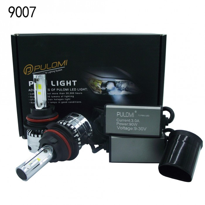 180W 19200lm 2 Sides CSP LED Headlight Kits 9007 HB5 Hi/Low Beam 6000K Bulbs