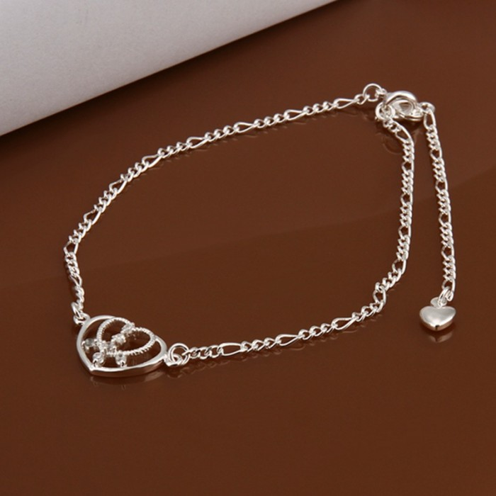 SA017 Fashion Silver Jewelry Crystal Heart Foot Chain Anklet Ankle Bracelet