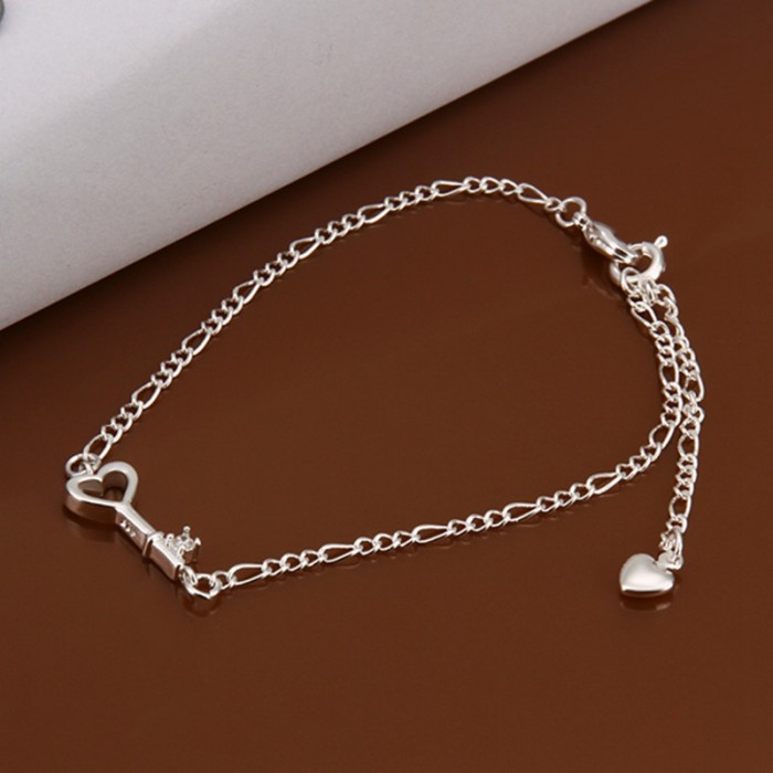 SA024 Fashion Silver Jewelry Crystal Key Foot Chain Anklet Ankle Bracelet