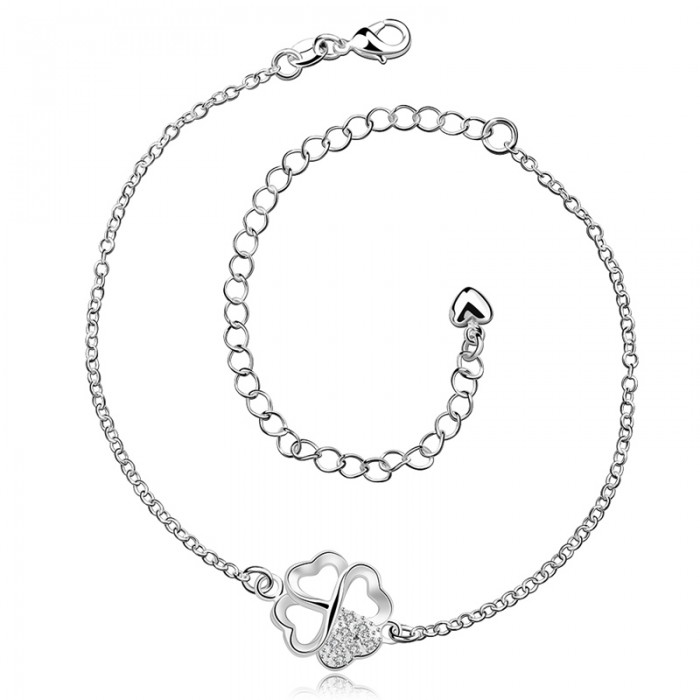 SA030 Fashion Silver Jewelry Crystal Flower Foot Chain Anklet Ankle Bracelet