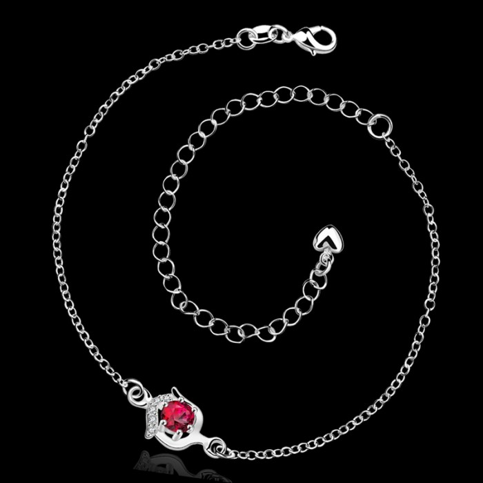 SA034-A Fashion Silver Jewelry Red Crystal Pretty Foot Chain Anklet Ankle Bracelet