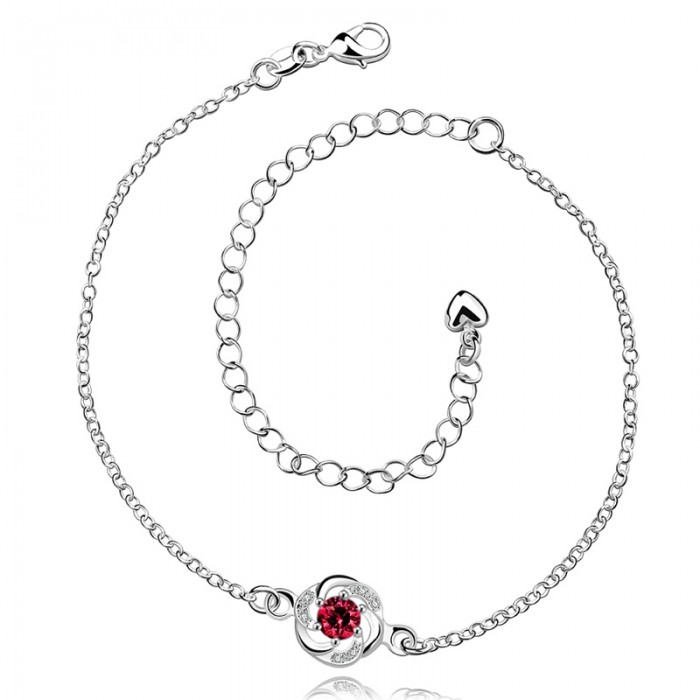 SA035-A Fashion Silver Jewelry Red Crystal Flower Foot Chain Anklet Ankle Bracelet