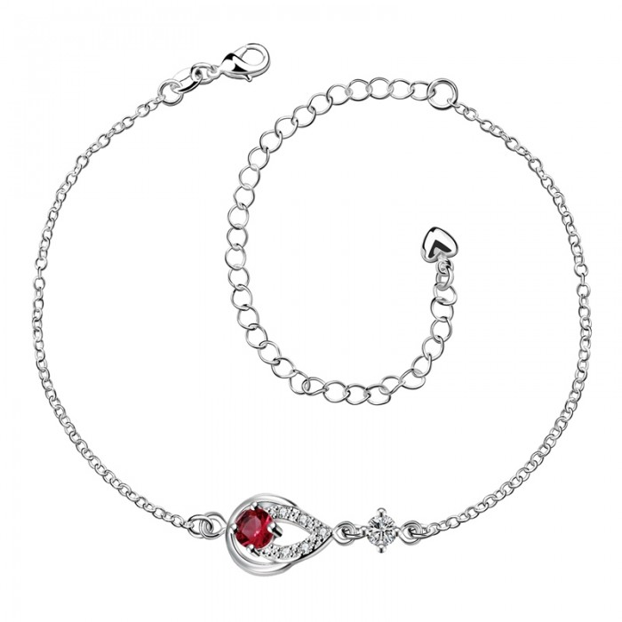 SPA001-C Fashion Silver Jewelry Red Crystal Waterdrop Foot Chain Anklet Ankle Bracelet