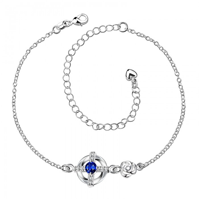 SPA002-A Fashion Silver Jewelry Blue Crystal Cross Foot Chain Anklet Ankle Bracelet