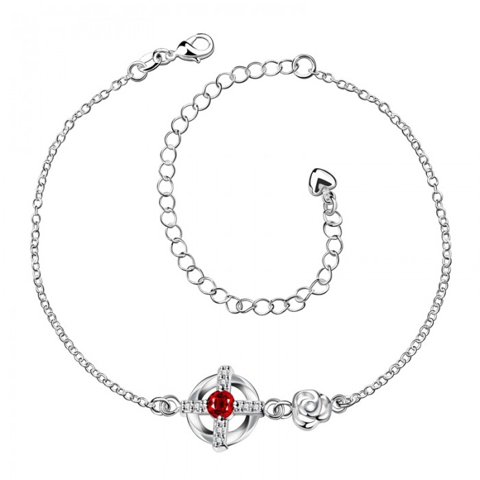 SPA002-C Fashion Silver Jewelry Red Crystal Cross Foot Chain Anklet Ankle Bracelet