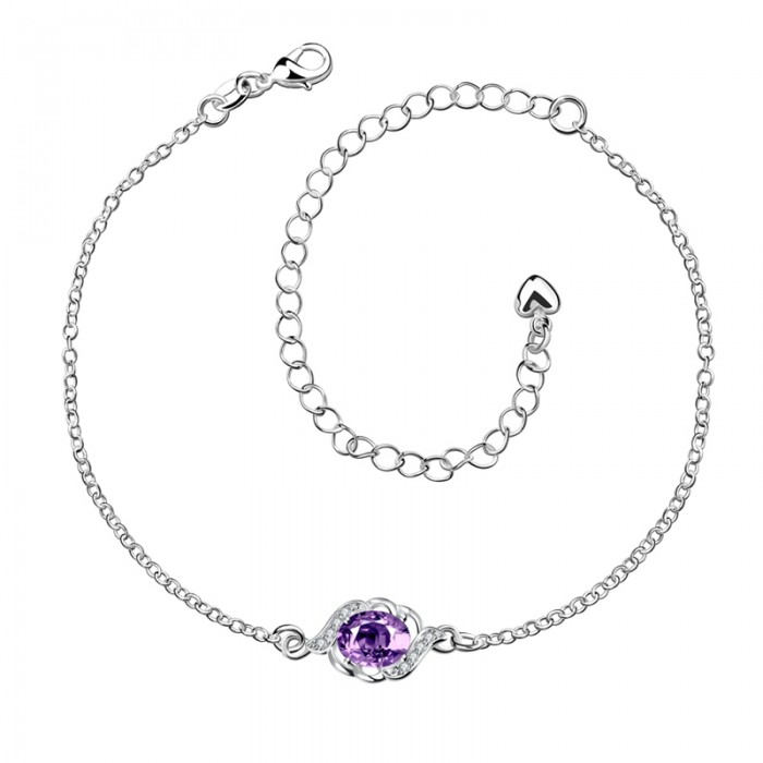 SPA004-B Fashion Silver Jewelry Purple Crystal Flower Foot Chain Anklet Ankle Bracelet