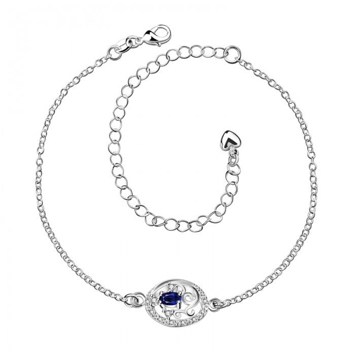 SPA006-A Fashion Silver Jewelry Blue Crystal Flower Foot Chain Anklet Ankle Bracelet