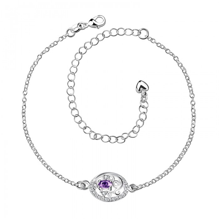 SPA006-B Fashion Silver Jewelry Purple Crystal Flower Foot Chain Anklet Ankle Bracelet