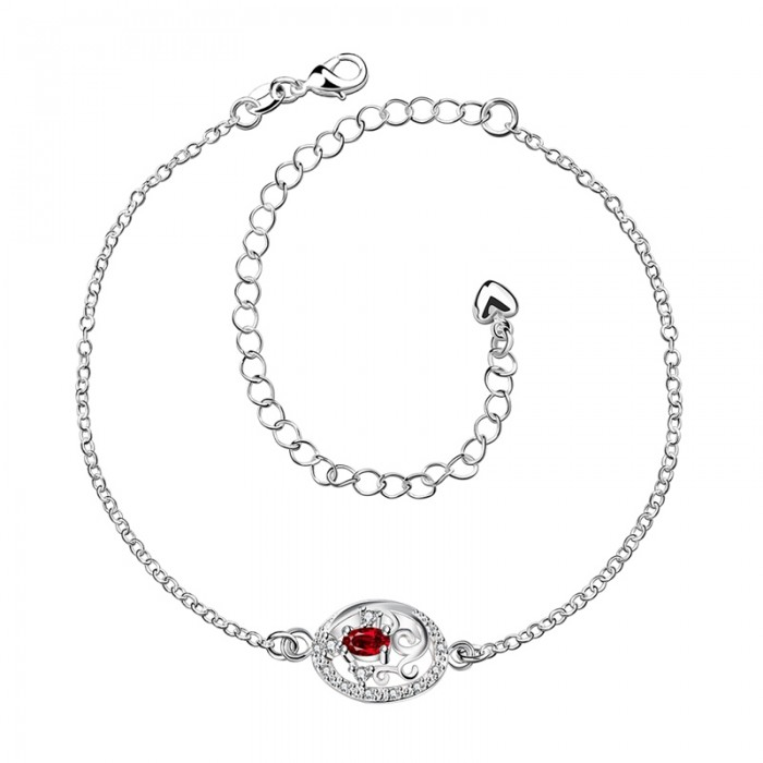SPA006-C Fashion Silver Jewelry Red Crystal Flower Foot Chain Anklet Ankle Bracelet
