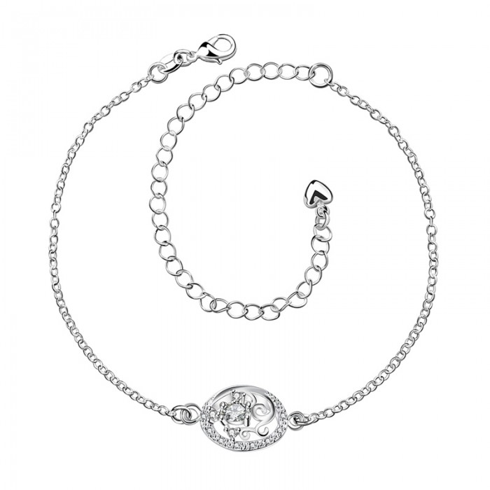 SPA006-D Fashion Silver Jewelry Crystal Flower Foot Chain Anklet Ankle Bracelet