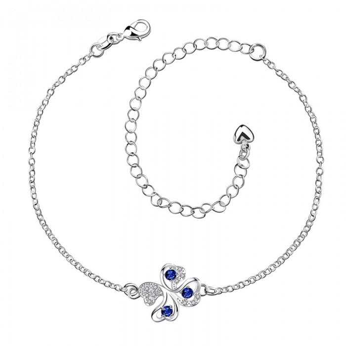 SPA010-A Fashion Silver Jewelry Blue Crystal Flower Foot Chain Anklet Ankle Bracelet