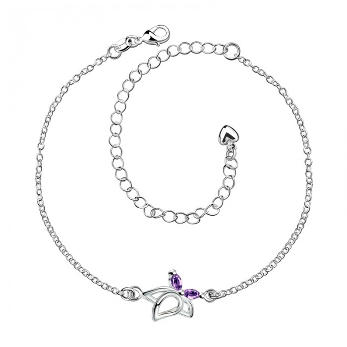 SPA011-B Fashion Silver Jewelry Purple Crystal Butterfly Foot Chain Anklet Ankle Bracelet