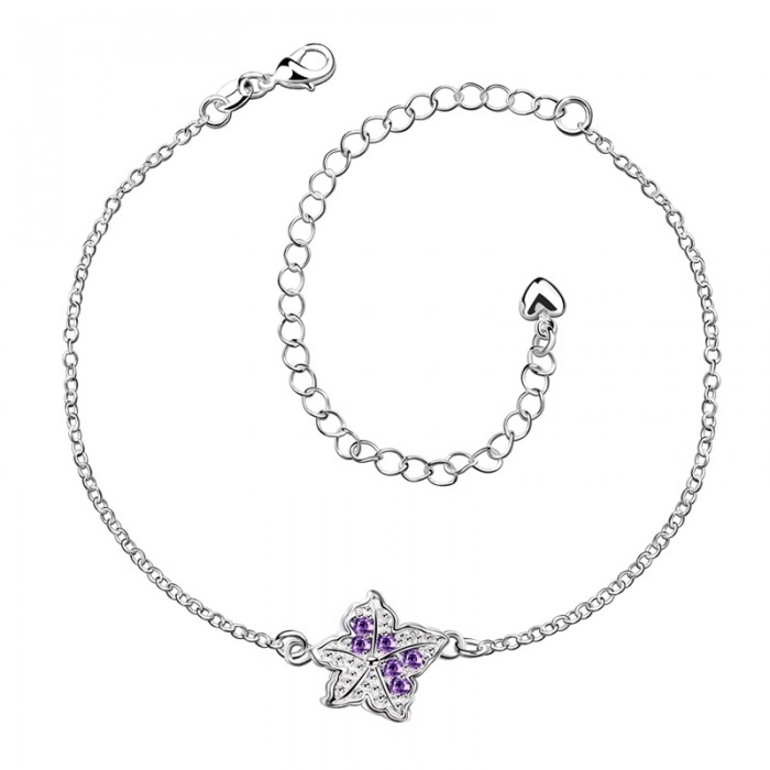 SPA012-B Fashion Silver Jewelry Purple Crystal Star Foot Chain Anklet Ankle Bracelet