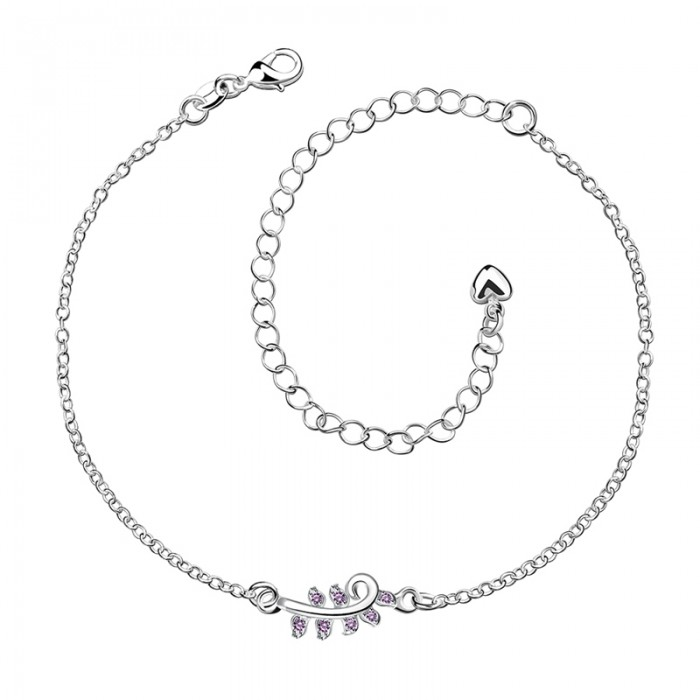 SPA014-B Fashion Silver Jewelry Purple Crystal Flower Foot Chain Anklet Ankle Bracelet