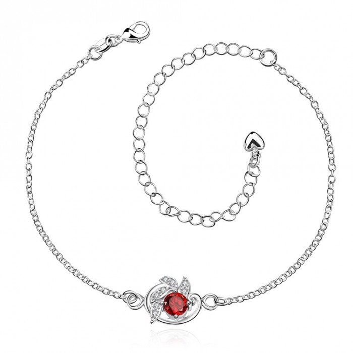 SPA033-B Fashion Silver Jewelry Crystal Red Flower Foot Chain Anklet Ankle Bracelet