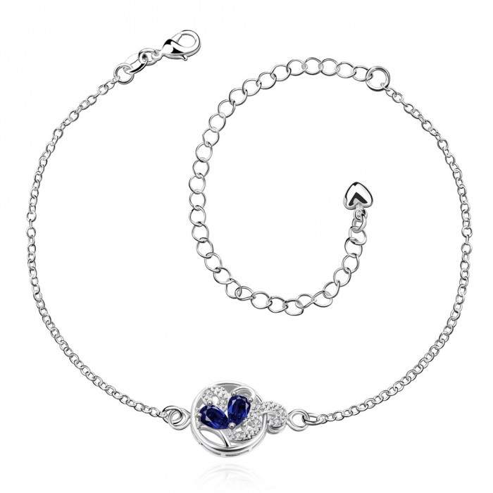 SPA034-A Fashion Silver Jewelry Crystal Blue Flower Foot Chain Anklet Ankle Bracelet