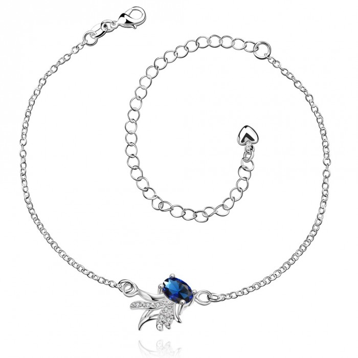 SPA036-A Fashion Silver Jewelry Crystal Blue Flower Foot Chain Anklet Ankle Bracelet