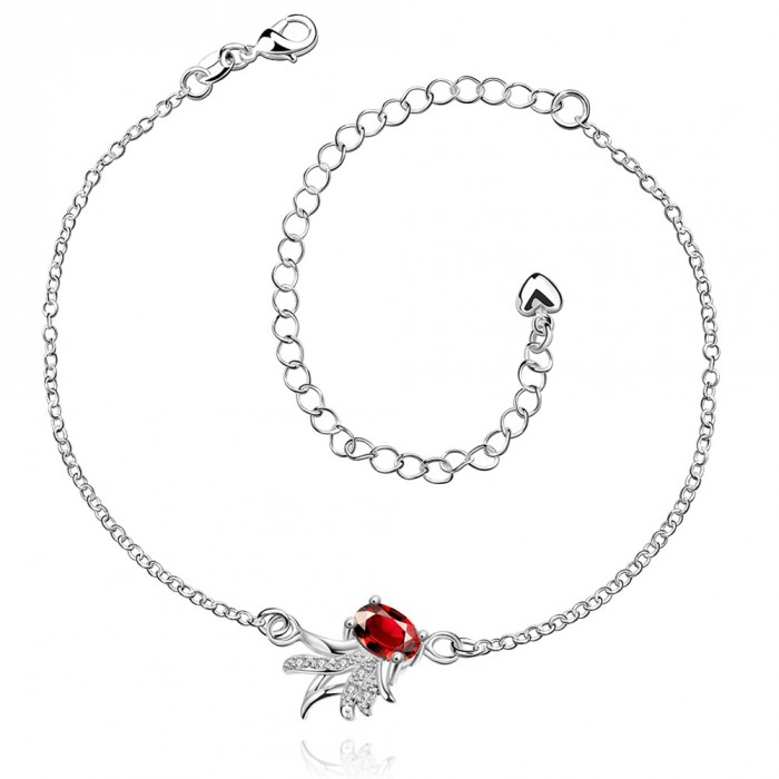 SPA036-B Fashion Silver Jewelry Crystal Red Flower Foot Chain Anklet Ankle Bracelet