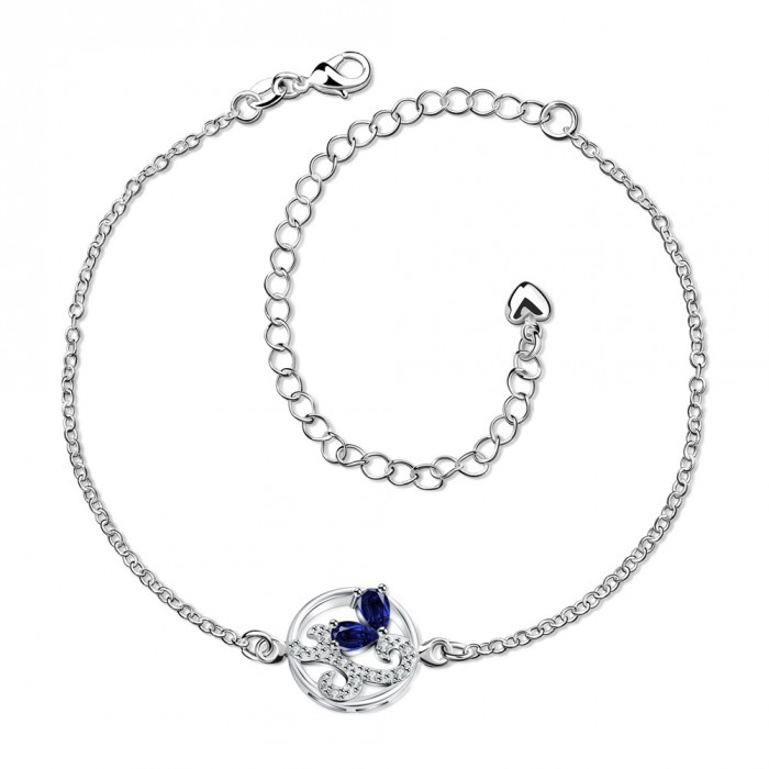 SPA039-A Fashion Silver Jewelry Crystal Blue Flower Foot Chain Anklet Ankle Bracelet