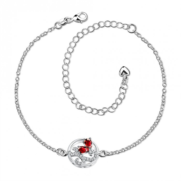 SPA039-B Fashion Silver Jewelry Crystal Red Flower Foot Chain Anklet Ankle Bracelet