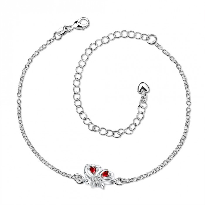SPA041-B Fashion Silver Jewelry Crystal Red Flower Foot Chain Anklet Ankle Bracelet