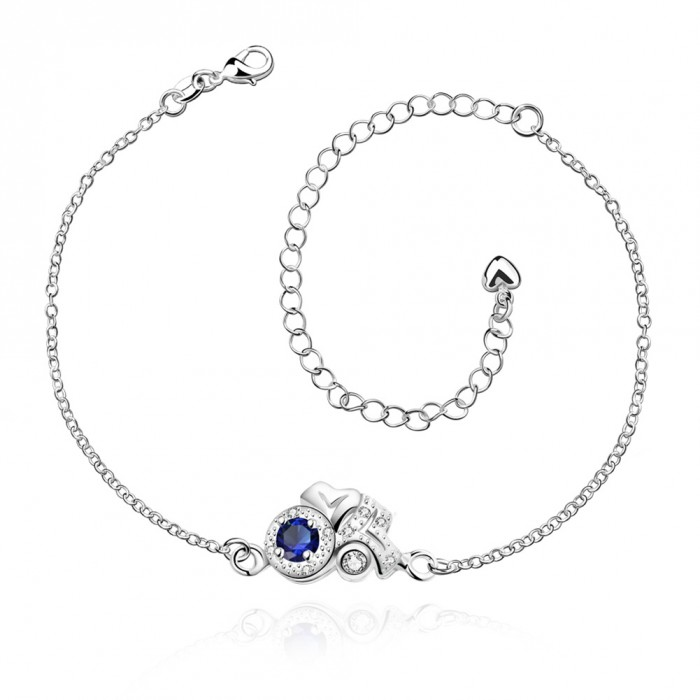 SPA043-A Fashion Silver Jewelry Crystal Blue Flower Foot Chain Anklet Ankle Bracelet