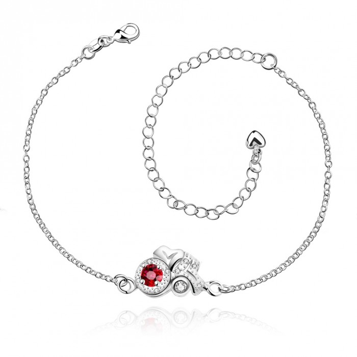 SPA043-B Fashion Silver Jewelry Crystal Red Flower Foot Chain Anklet Ankle Bracelet