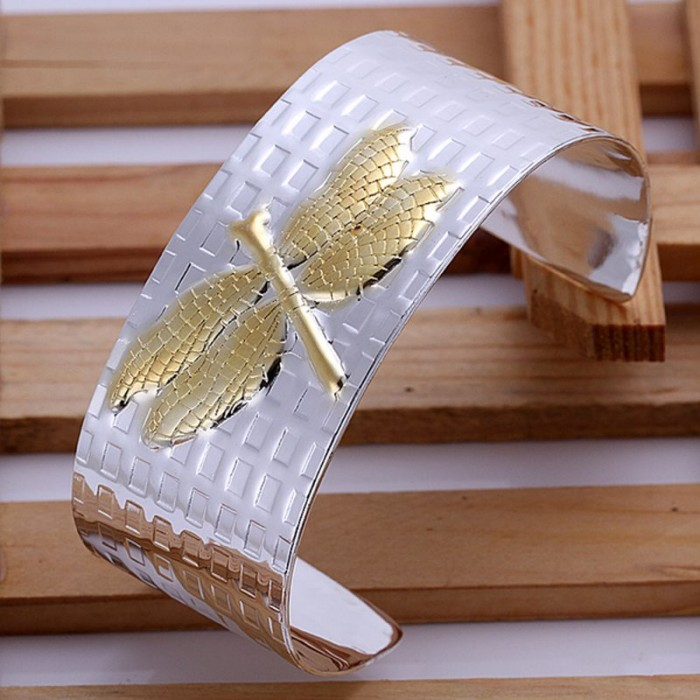 SK004 New Silver Jewelry Gold Dragonfly Cuff Bangles Bracelet