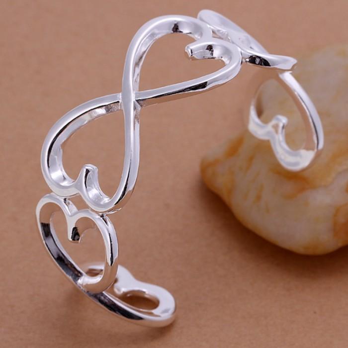 SK006 Fashion Silver Jewelry Heart Bangles Bracelet