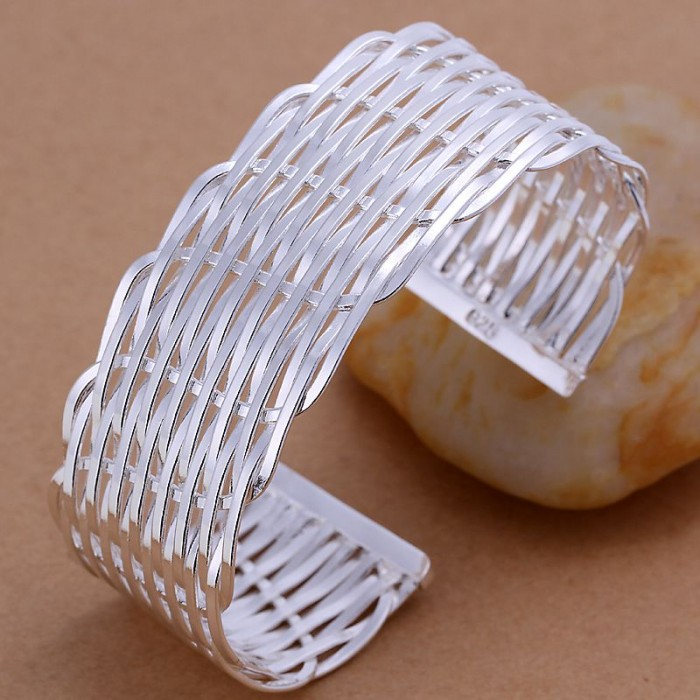 SK011 Fashion Silver Jewelry Weave Cuff Bangles Bracelet