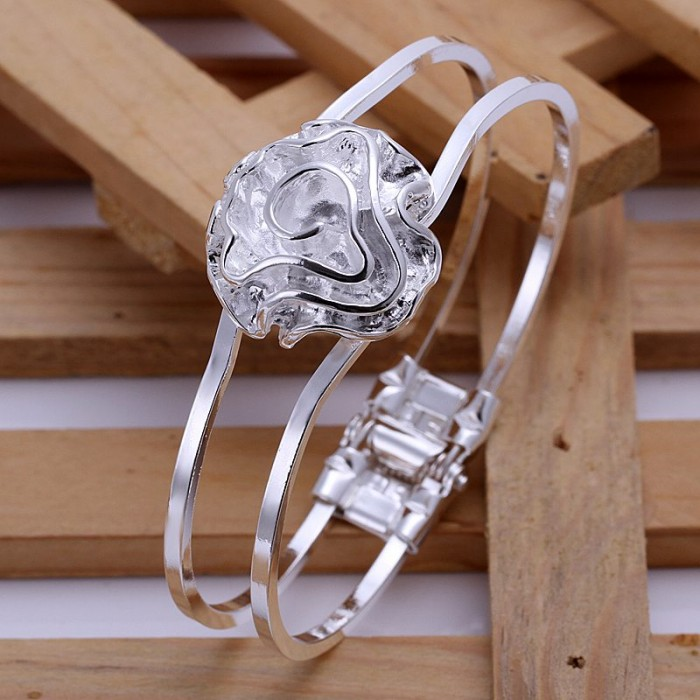SK012 Fashion Silver Jewelry Rose Bangles Bracelet