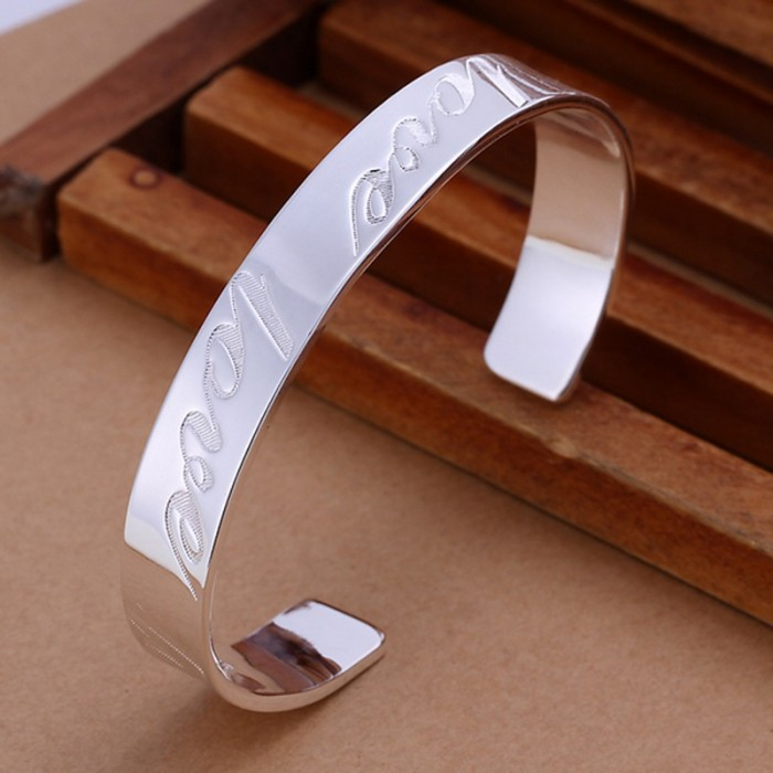 SK014 Fashion Silver Men Jewelry LOVE Bangles Bracelet