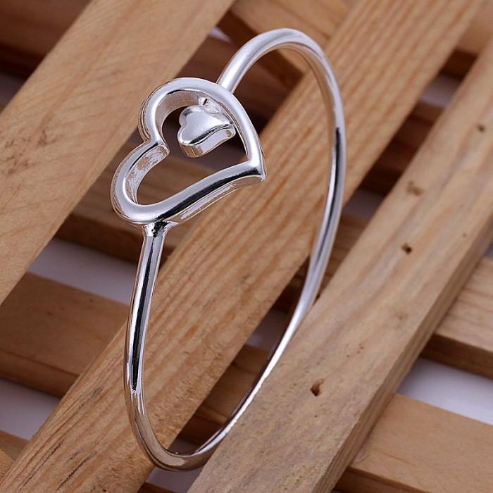 SK018 Fashion Silver Jewelry Heart Bangles Bracelet
