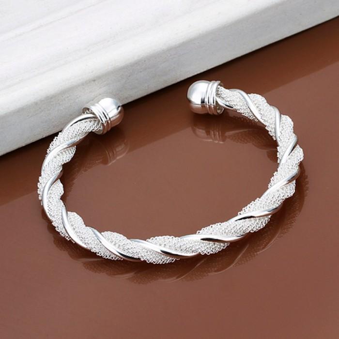 SK020 Fashion Silver Jewelry Twist Mesh Bangles Bracelet