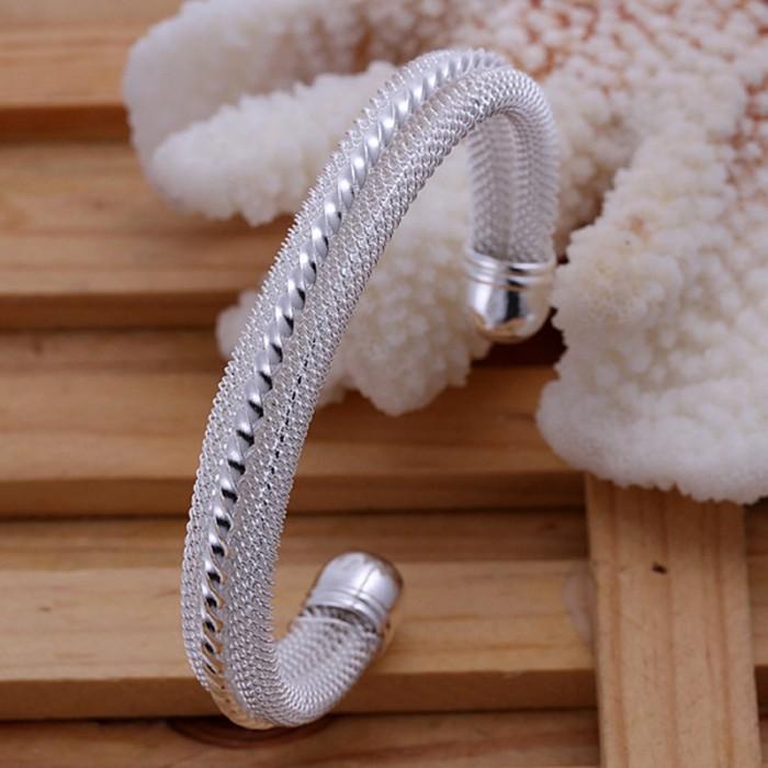 SK021 Fashion Silver Jewelry Twist Mesh Bangles Bracelet