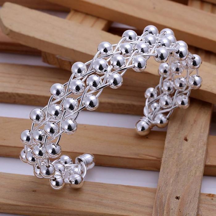 SK022 Fashion Silver Jewelry Bright Grape Bangles Bracelet