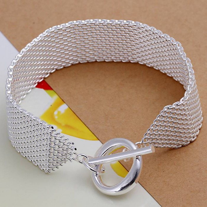 SH004 Fashion Silver Jewelry Mesh T-O Bracelet For Women