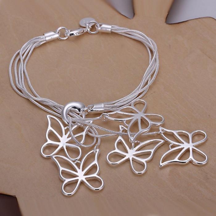 SH027 Hot Silver Jewelry 5 Chain&Butterfly Bracelet For Women