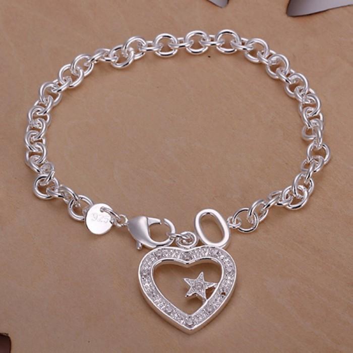 SH028 Hot Silver Jewelry Crystal Heart&Star Bracelet For Women