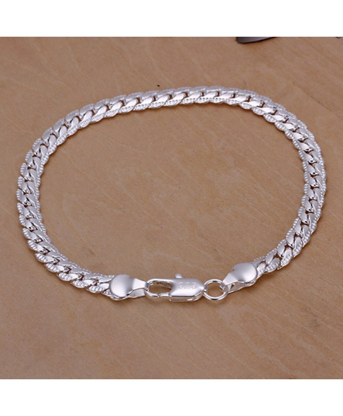 SH199 Fashion Silver Men Jewelry 5MM Chain Bracelet For Women