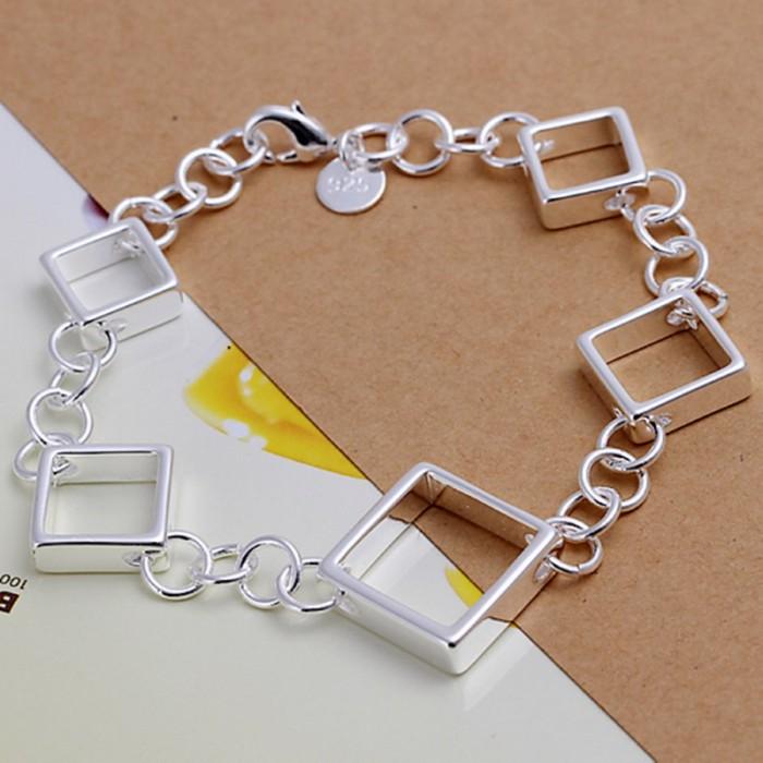 SH204 Fashion Silver Jewelry Square Chain Bracelet For Women