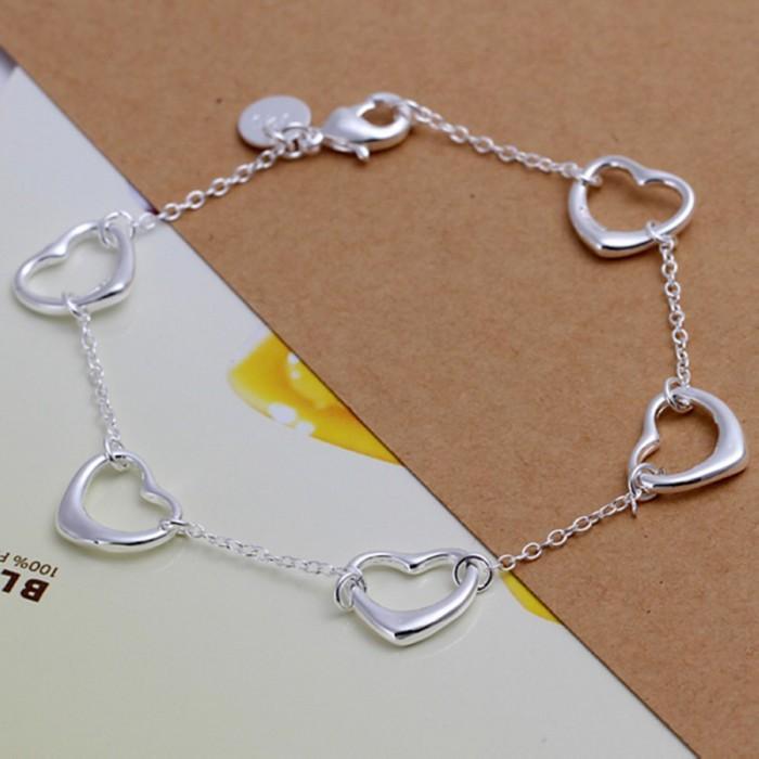 SH213 Fashion Silver Jewelry Heart Chain Bracelet For Women