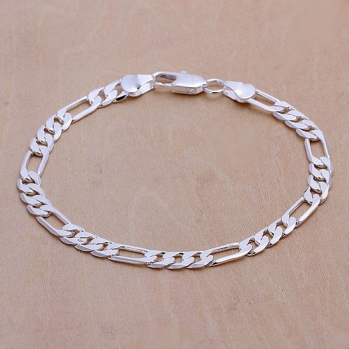 SH219 Hot Silver Men Jewelry 6MM 3+1 Chain Bracelet For Women