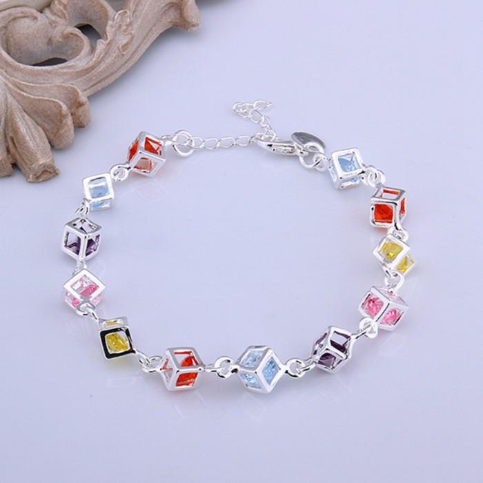 SH220 Fashion Silver Jewelry Colorful Crystal Box Bracelet