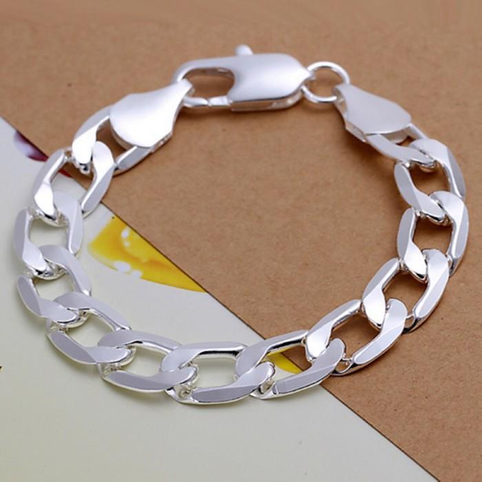SH222 Fashion Silver Men Jewelry 12MM Chain Bracelet For Women