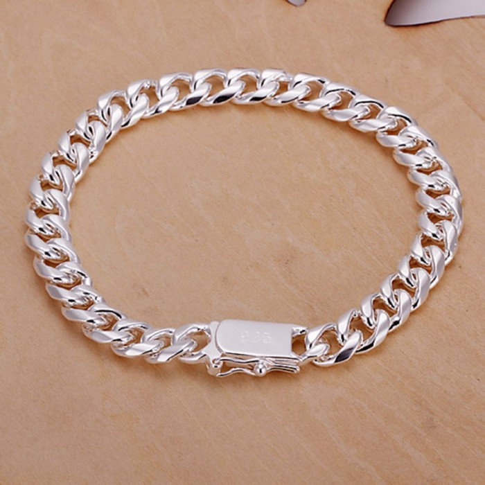 SH227 Fashion Silver Men Jewelry 8MM Chain Bracelet For Women