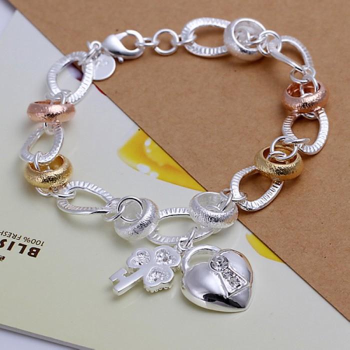 SH233 Hot Silver Jewelry Crystal Gold Heart Bracelet For Women
